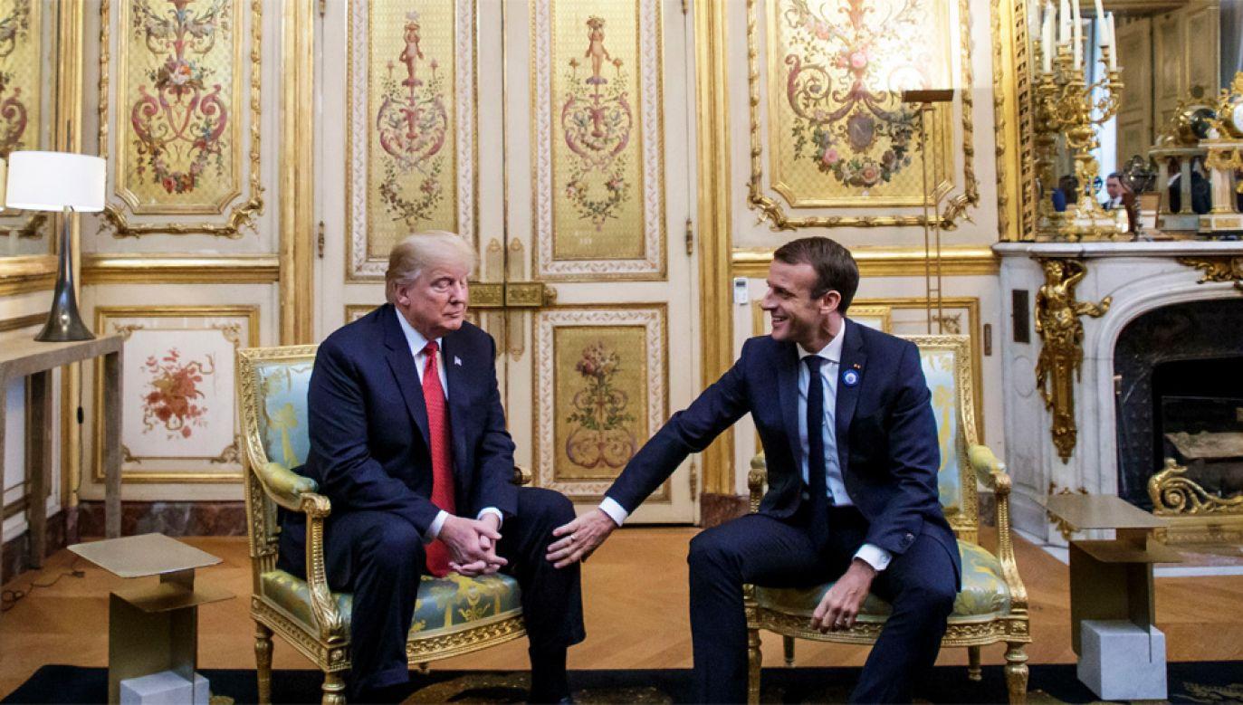 Donald Trump skrytykował Emmanuela Macrona (fot. PAP/EPA/CHRISTOPHE PETIT TESSON / POOL)
