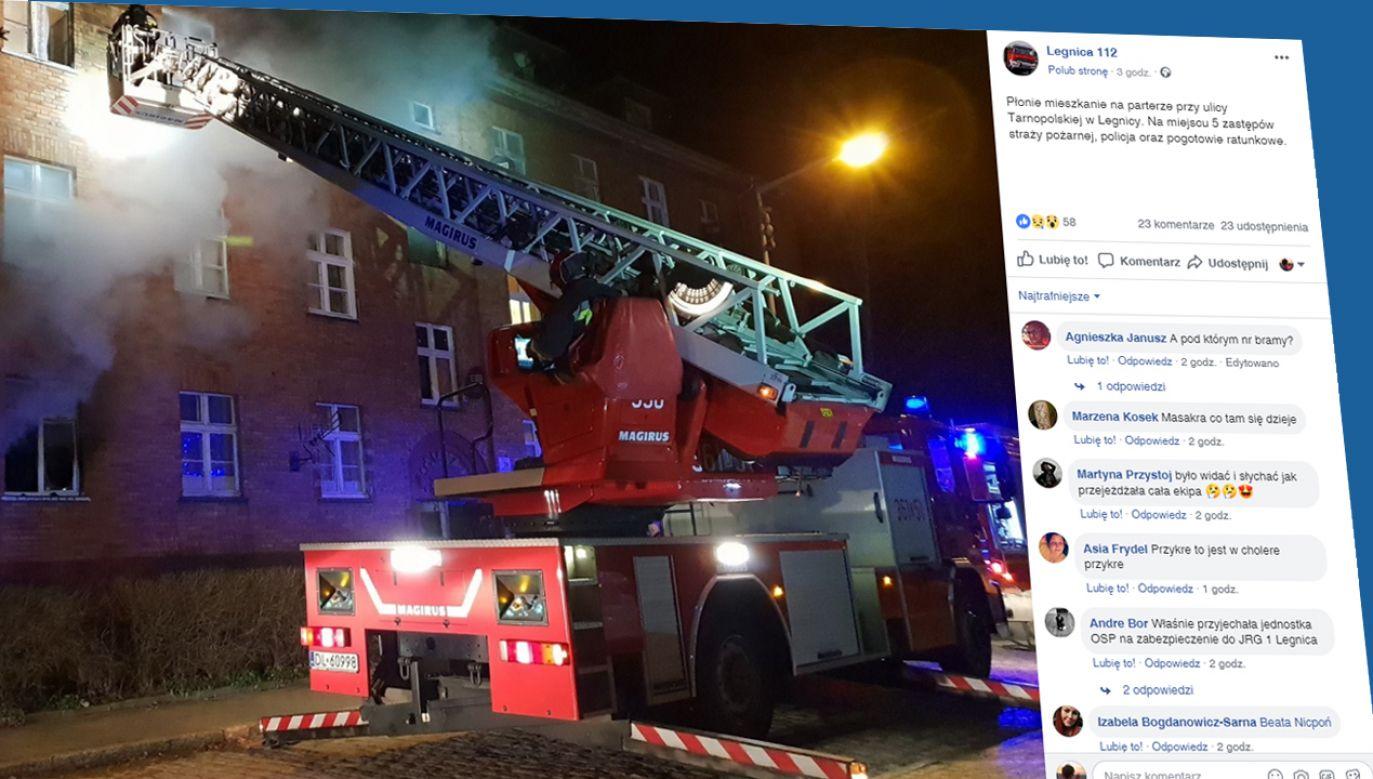 Pożar w Legnicy; zginęła jedna osoba (fot. źródło; facebook/Legnica112)