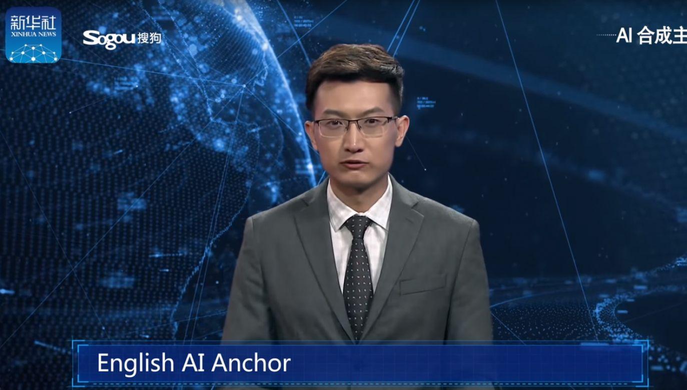 Pierwszy raz w historii prezenter wygenerowany komputerowo zapowiadał wiadomości (fot. New China TV)