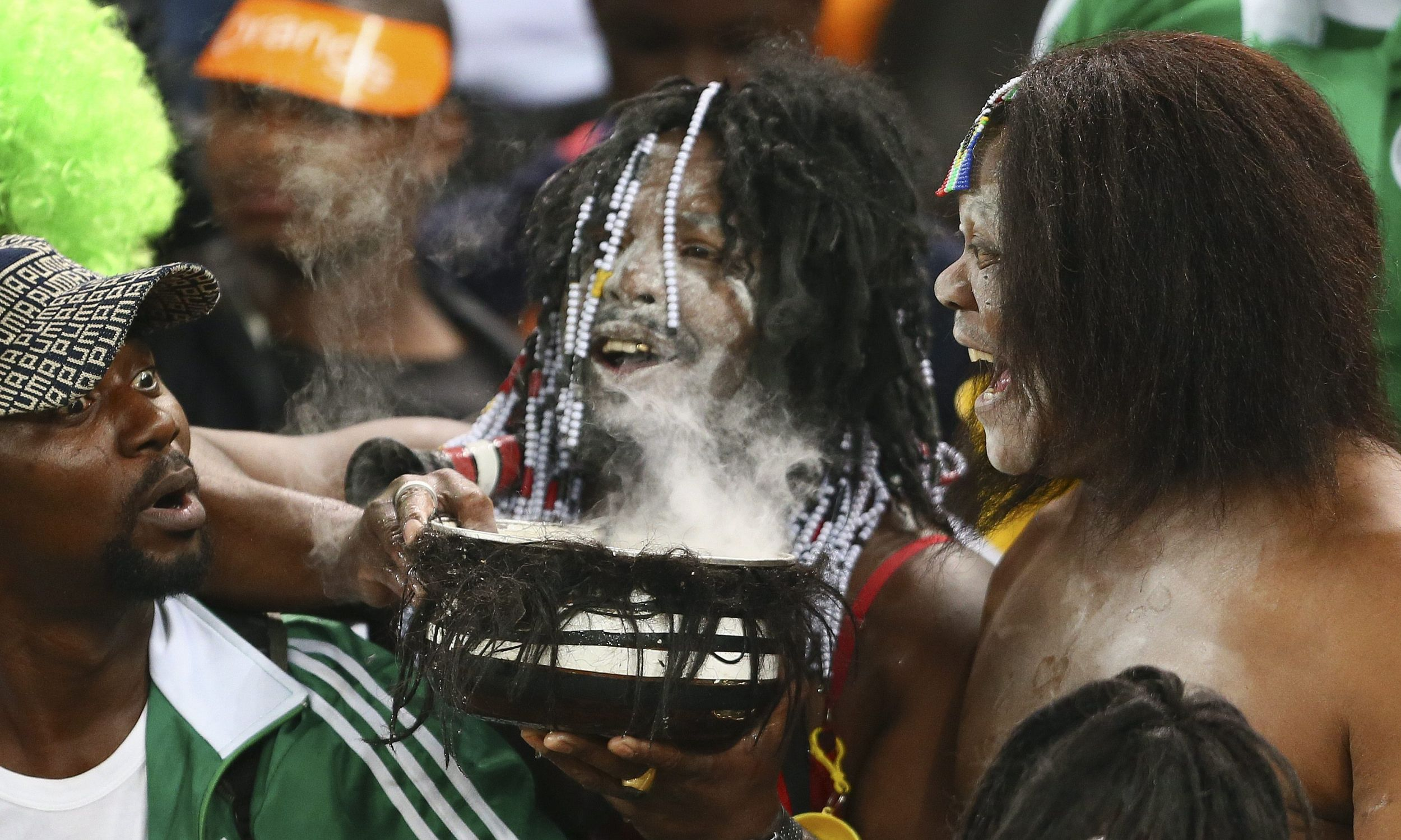 Nigeryjczycy podczas finału Pucharu Narodów Afryki, luty 2013. Nigeria wygrała 1: 0. z Burkina Faso na stadionie Soccer City w Johannesburgu, w Republice Południowej Afryki. Fot. PAP / EPA