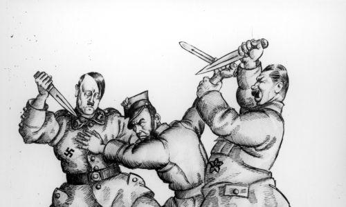 Fotokopia karykatury autorstwa Artura Szyka ukazująca Adolfa Hitlera i Józefa Stalina atakujących żołnierza polskiego. Fot. NAC/Czesław Datka