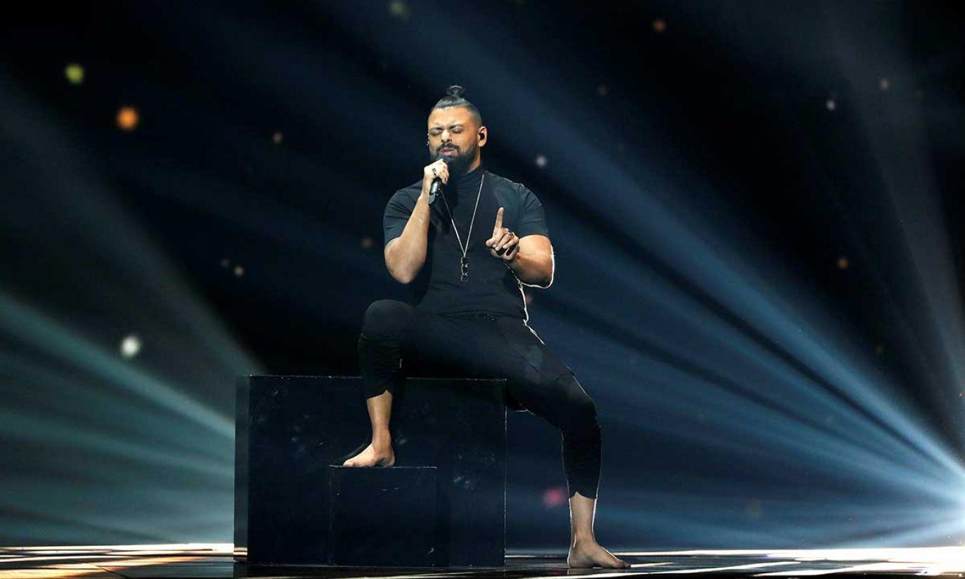 Joci Papai z Węgier wystąpi podczas próby generalnej przed pierwszym półfinałem Konkursu Piosenki Eurowizji 2019 w Tel Awiwie (fot. REUTERS/Ronen Zvulun)