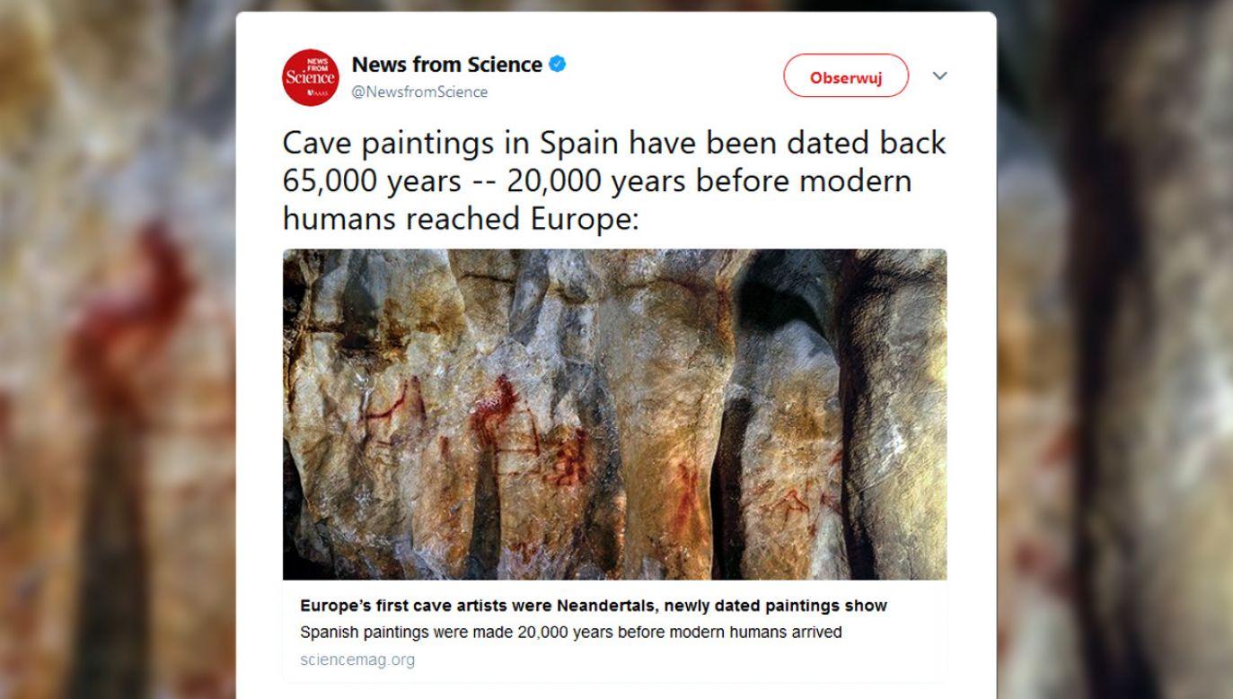 Malowidła powstały około 65 tys. lat temu (fot. tt/@sciencemagazine)