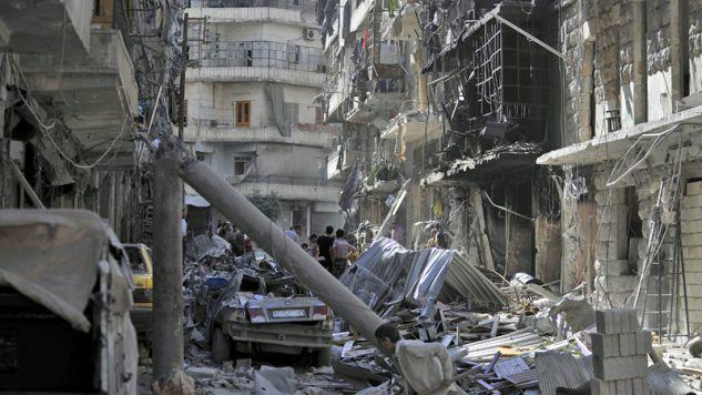 Zniszczone wojną Aleppo (fot. Salih Mahmud Leyla/Anadolu Agency/Getty Images)