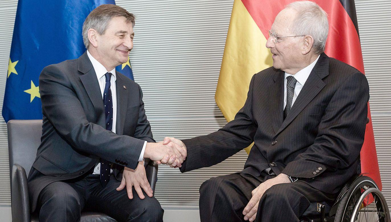 Do spotkania Marka Kuchcińskiego z Wolfgangiem Schaeuble dojdzie w poniedziałek (fot. PAP/EPA/TILL RIMMELE)