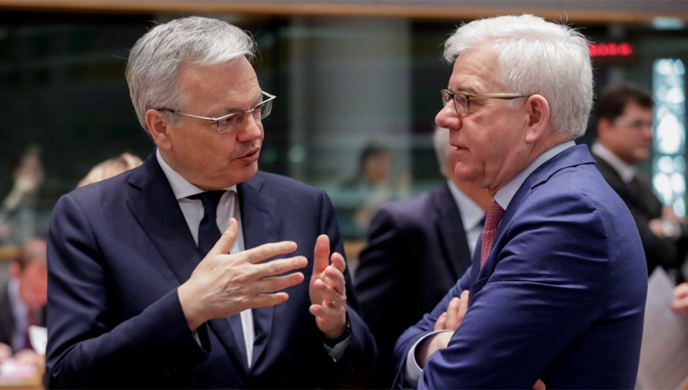 Szef MSZ Jacek Czaputowicz (z prawej) wziął udział w spotkaniu ministrów spraw zagranicznych krajów Unii  (fot. PAP/EPA/STEPHANIE LECOCQ)