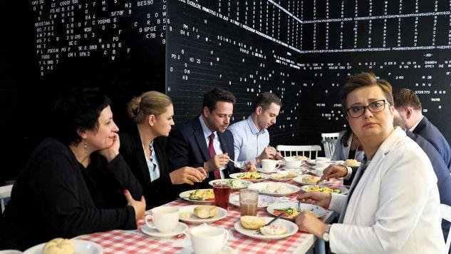Na zdjęciu m.in. Katarzyna Lubnauer, Rafał Trzaskowski, Barbara Nowacka przed wyborami samorządowymi (fot. arch. PAP/Wojciech Pacewicz)