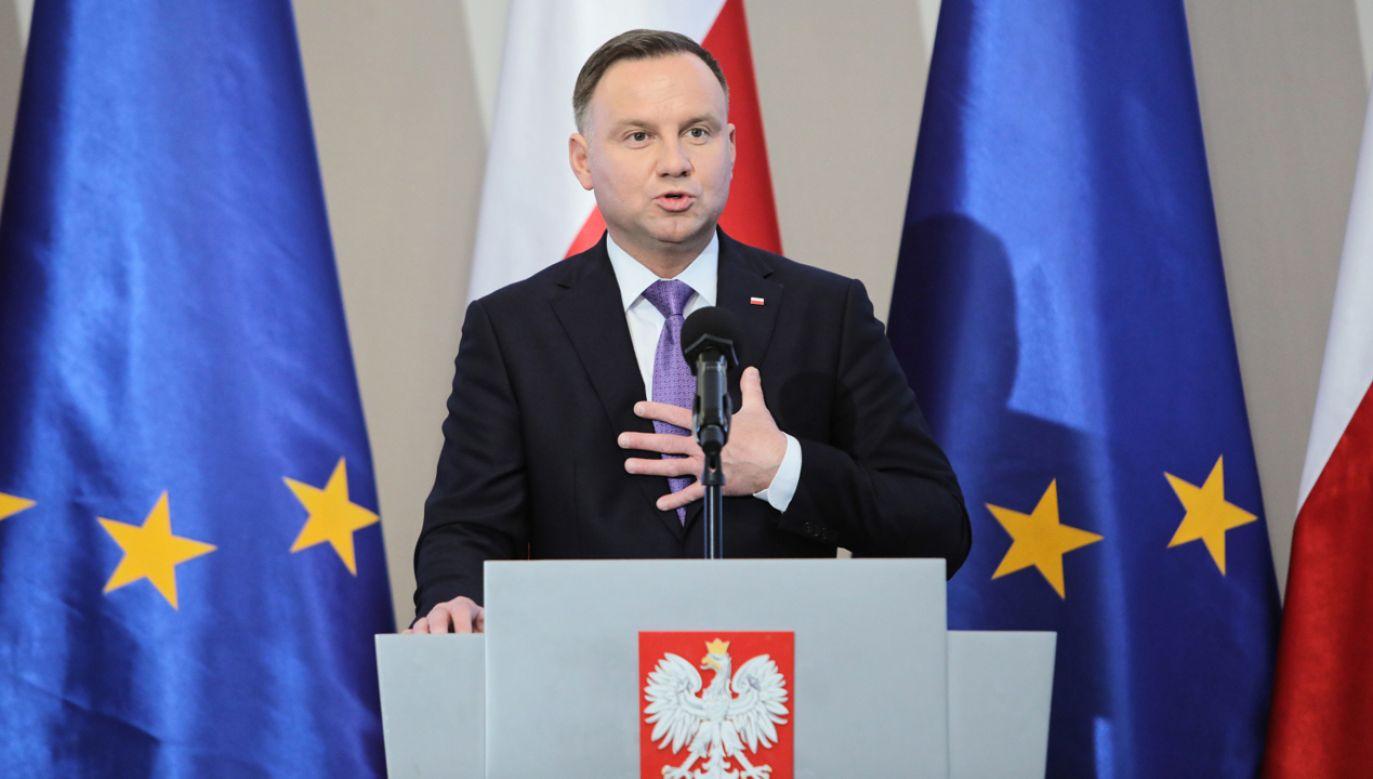 Prezydent Andrzej Duda podczas konferencji (fot. PAP/Leszek Szymański)