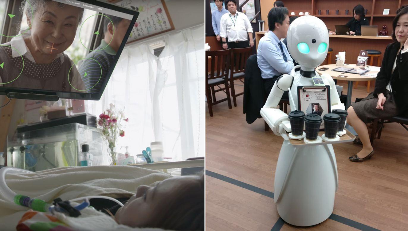 Roboty sterowane są za pomocą ruchu gałek ocznych (fot. TT/Jill-Jênn Vie/YT/The Nippon Foundation)