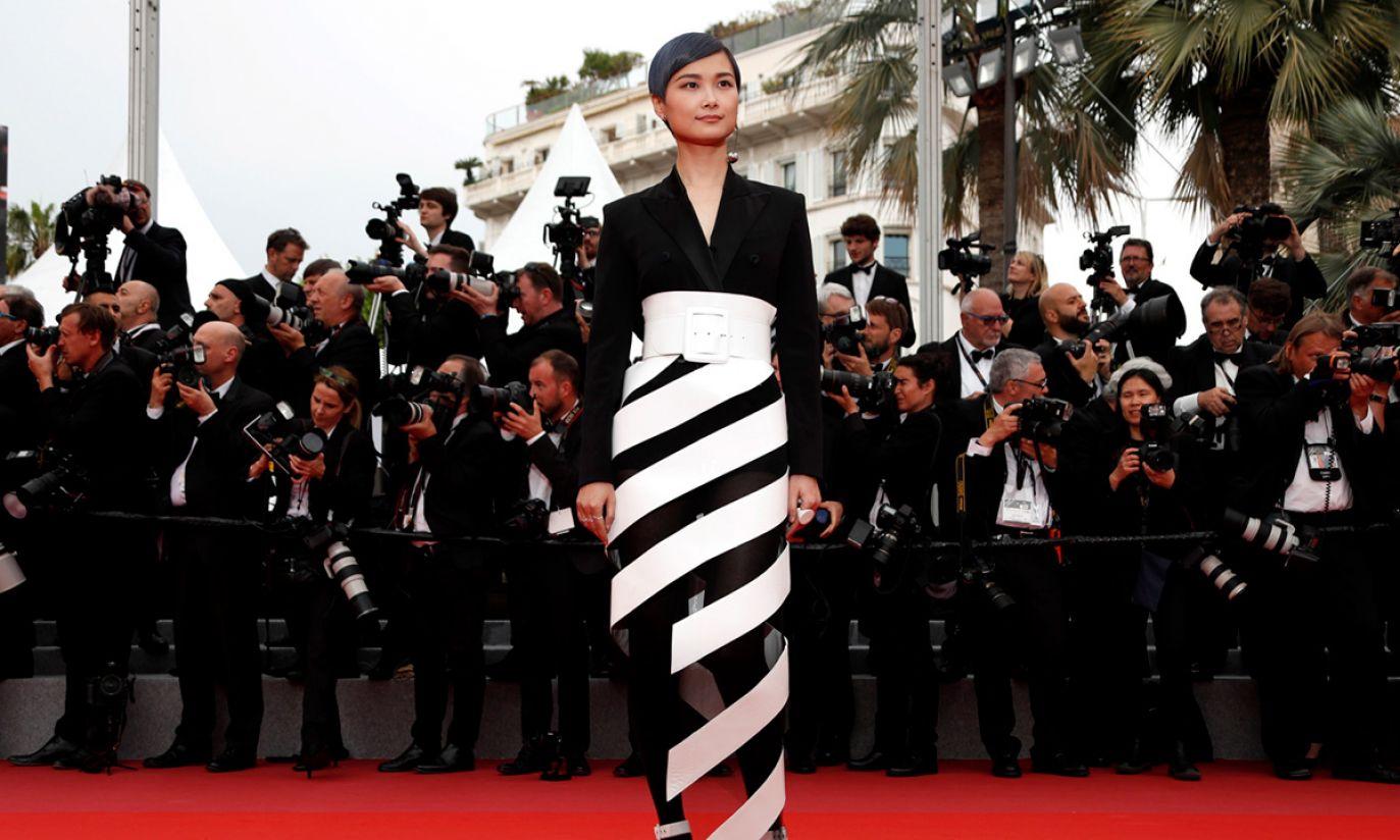 Aktorka Chris Lee na czerwonym dywanie Festiwalu Filmowego w Cannes (fot. PAP/EPA/IAN LANGSDON)