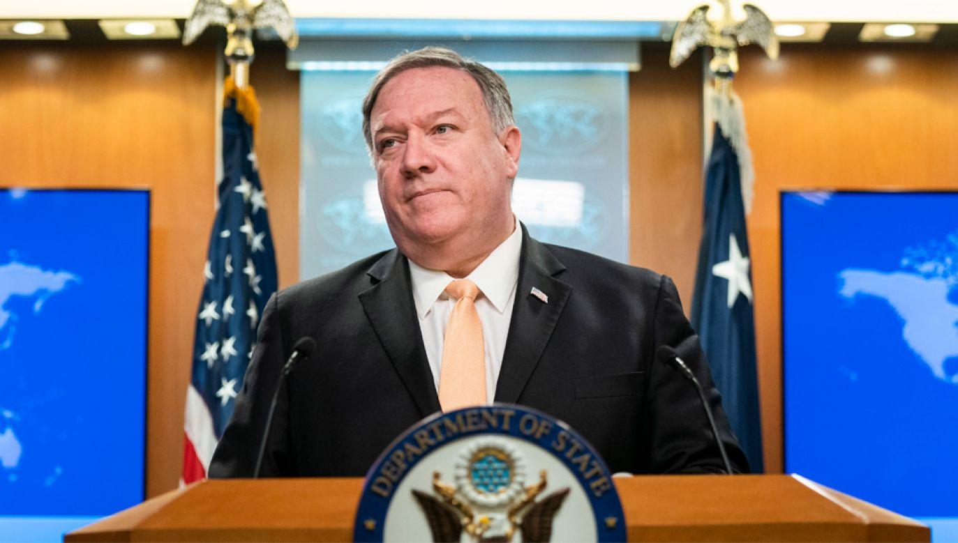 Amerykański sekretarz stanu Mike Pompeo (fot. PAP/EPA/JIM LO SCALZO)