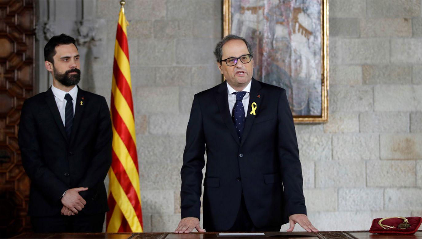 Nowy premier Katalonii Quim Torra nie może stworzyć rządu (fot. PAP/EPA/ALBERTO ESTEVEZ / POOL)