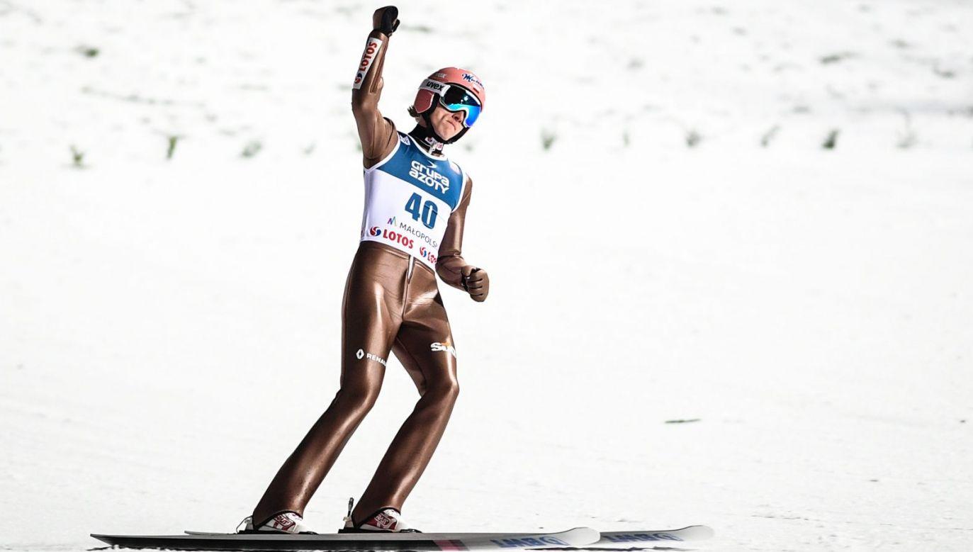 Dawid Kubacki podczas zawodów Pucharu Świata w Zakopanem (fot. Getty)