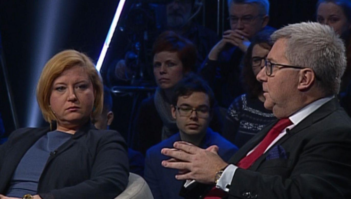 """Goście """"Bez Retuszu"""" o relacjach polsko-izraelskich (fot. TVP Info)"""