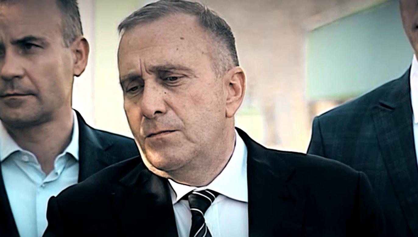 Grzegorz Schetyna na konferencji prasowej w Goleniowie (fot. TVP Info)