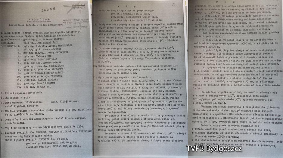 Protokól komisyjnego badania wypadku lotniczego. Ostatnie zdjęcie dokumentuje stan samolotu
