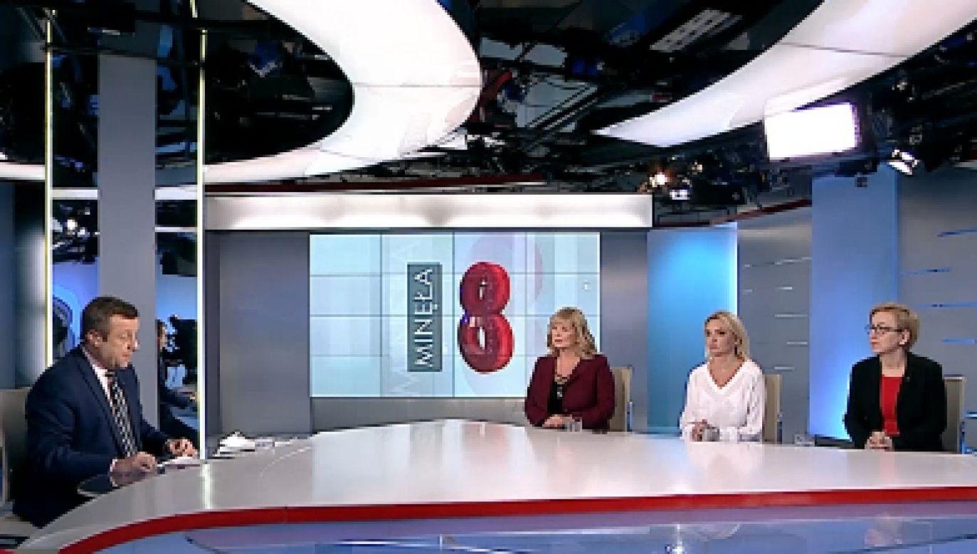 """Gośćmi programu """"Minęła 8"""" były Małgorzata Gosiewska (PiS), Paulina Hennig-Kloska (Nowoczesna) i Agnieszka Ścigaj (Kukiz'15)."""
