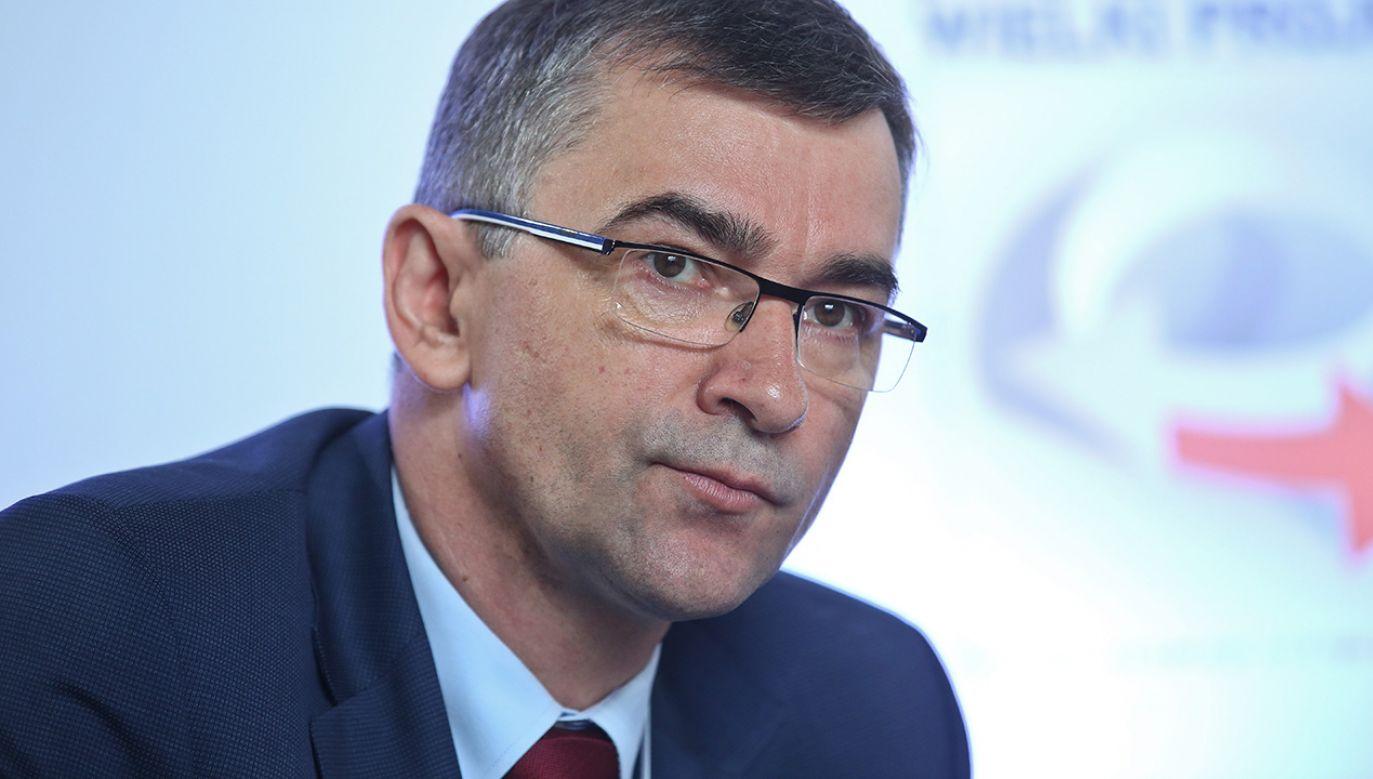 """Przyłębski ocenił, że lider PO """"celowo podnosi rangę tej wizyty""""(fot. arch. PAP/Rafał Guz)"""