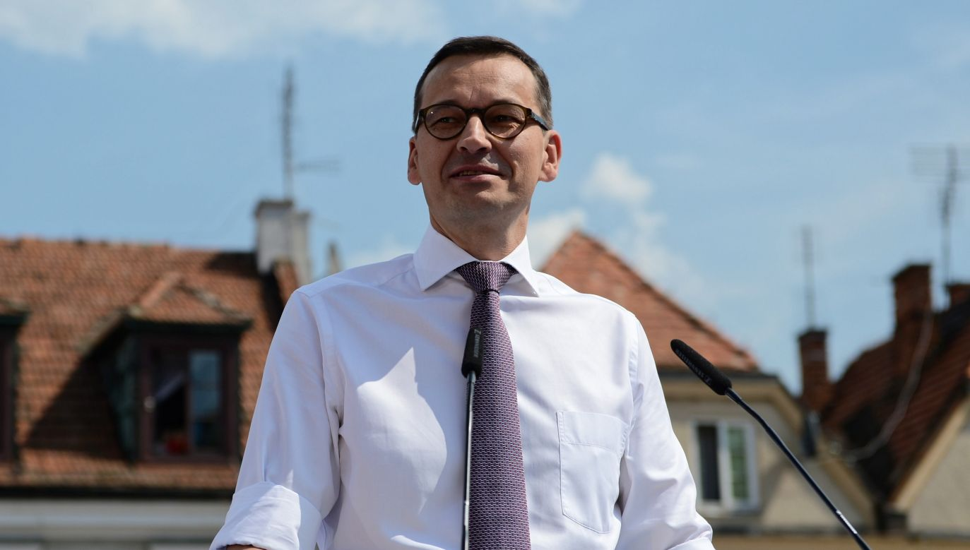 The Prime Minister of Poland Mateusz Morawiecki on the meeting in Sandomierz. Photo: PAP/Piotr Polak