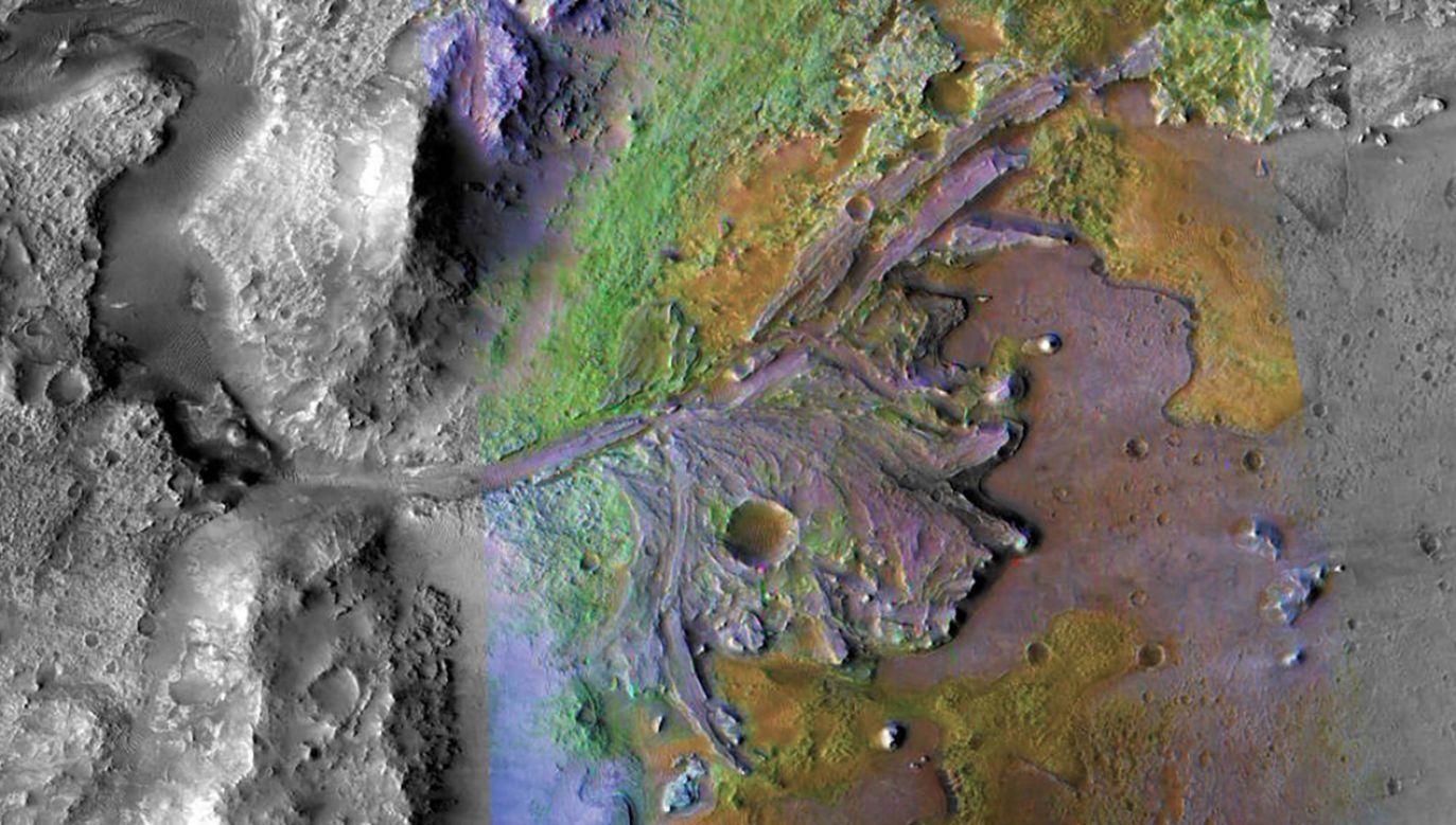 Miejsce lądowania w kraterze Jezero oferuje bogaty geologicznie teren z formacjami liczącymi nawet 3,6 mld lat, które potencjalnie mogą odpowiedzieć na ważne pytania dotyczące ewolucji planet i astrobiologii (fot. nasa.gov)