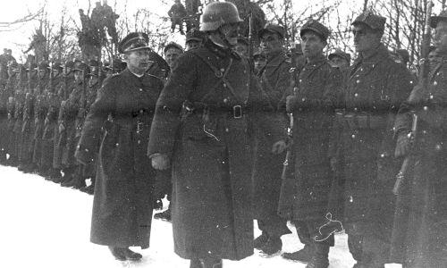Przegląd wojska  na granicy polsko-węgierskiej po zajęciu przez Węgry Rusi Zakarpackiej.