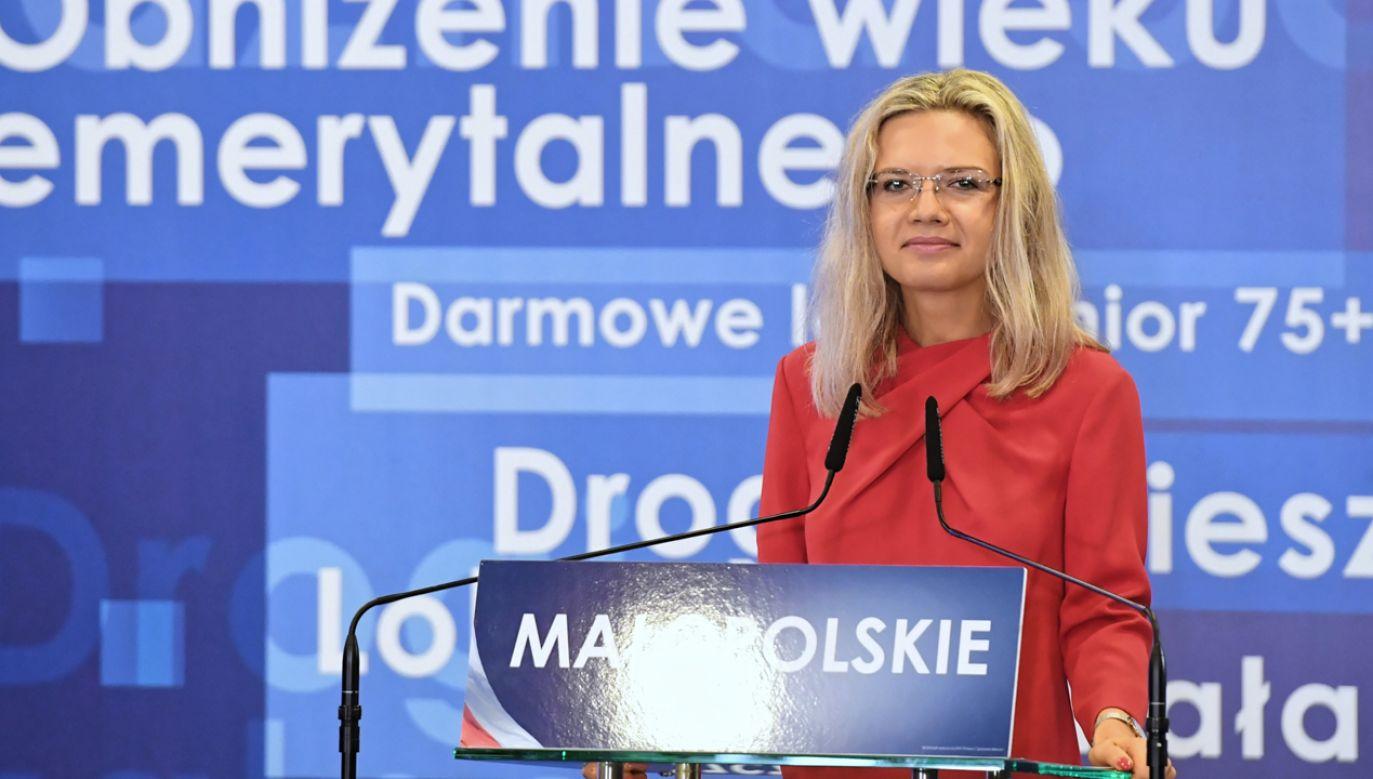 Małgorzata Wassermann podczas regionalnej konwencji wyborczej PiS w Krakowie (fot. PAP/Jacek Bednarczyk)