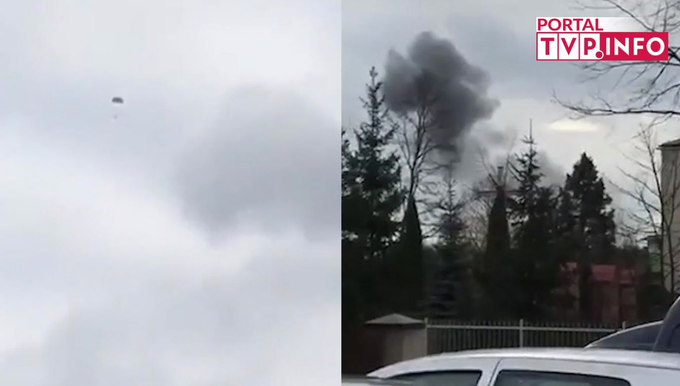Na materiale widać pilota, który katapultował się z samolotu (fot. portal tvp.info)