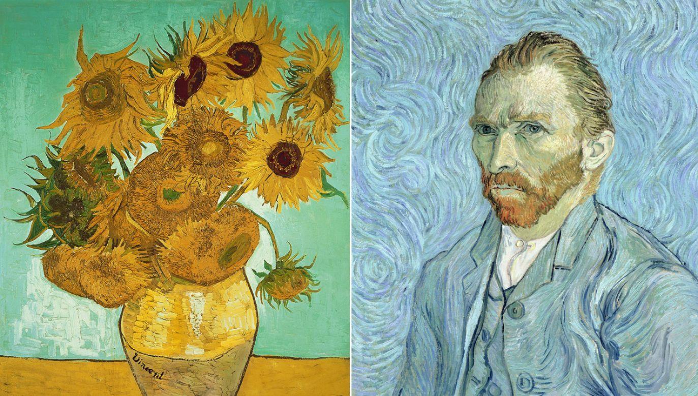 """Vincent van Gogh , """"Autoportret"""", """"Słoneczniki"""" (fot. TT/Vogue.fr)"""