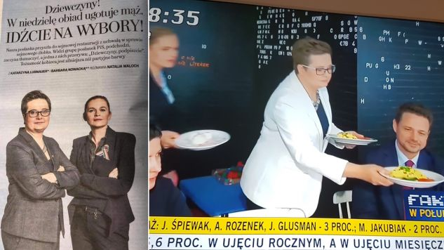 Katarzyna Lubnauer i Barbara Nowacka podają do stołu (fot. )