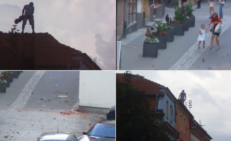 Mężczyzna zrzucał dachówki na ulicę, zagrażając przechodniom i uszkadzając samochody  (fot. żródło materiał wideo)