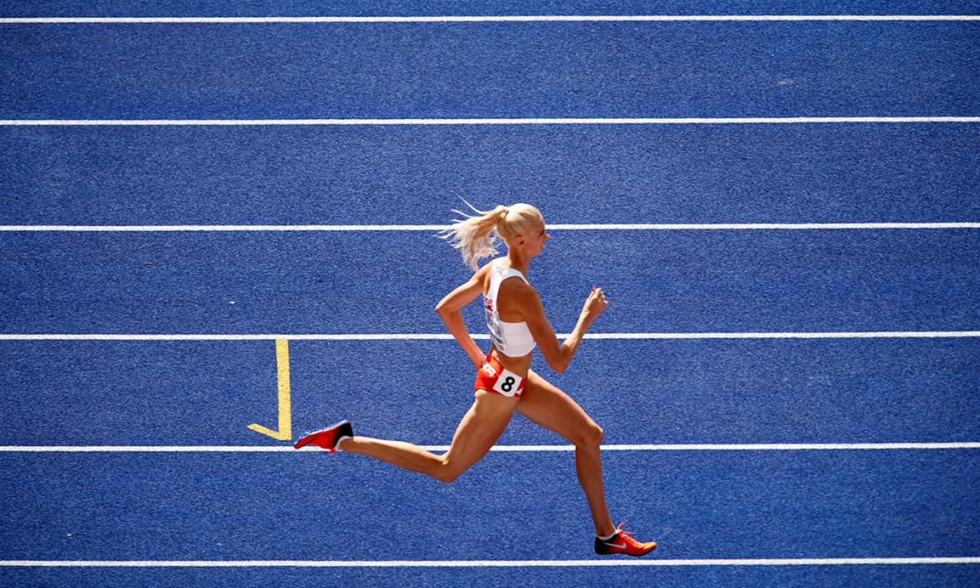 Iga Baumgart-Witan w kwalifikacyjnym biegu na 400 m (fot. PAP/Adam Warżawa)