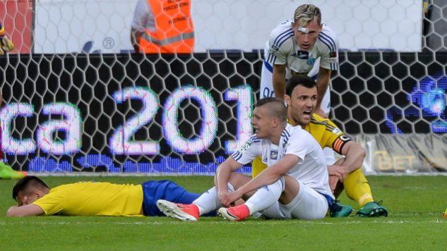 Piłkarze Ruchu spadają z ekstraklasy (fot. PAP/Jan Dzban)