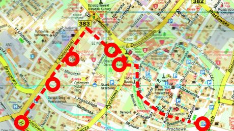 Mapa obszaru objętego ewakuacją (źródło: dzierzoniow.pl)