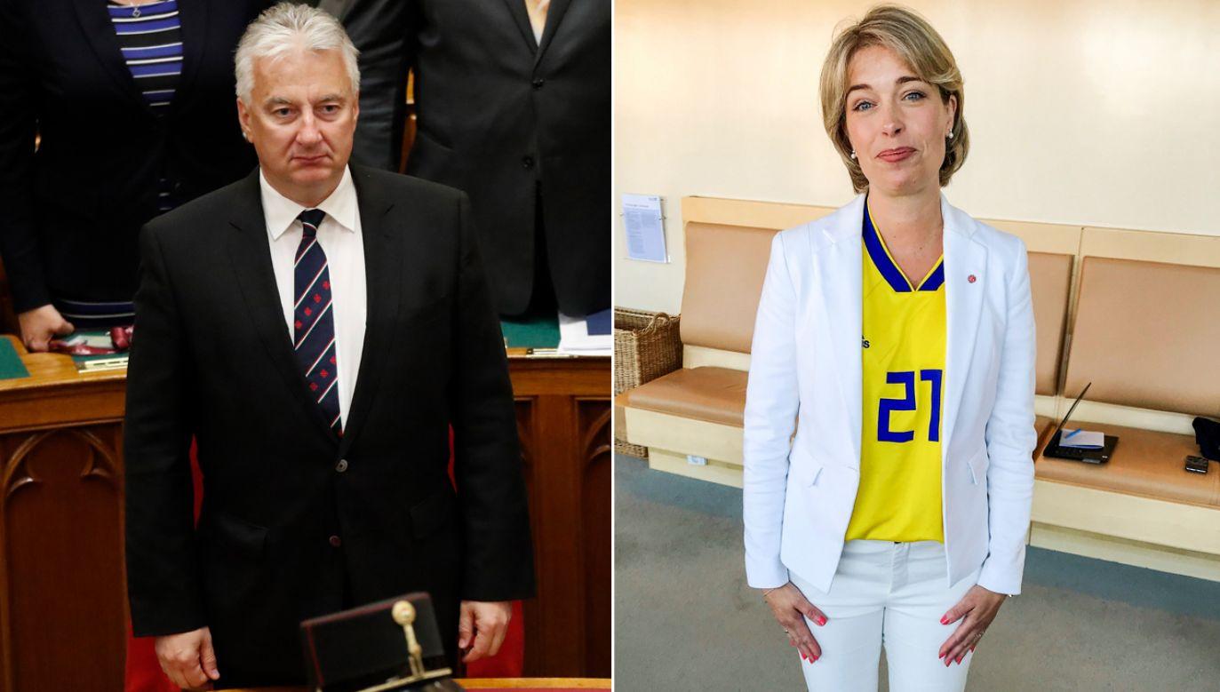 Wicepremier Węgier Zsolt Semjen i minister spraw społecznych Szwecji Annika Strandhaell (fot. REUTERS/Bernadett Szabo/arch. PAP/TT NEWS AGENCY)