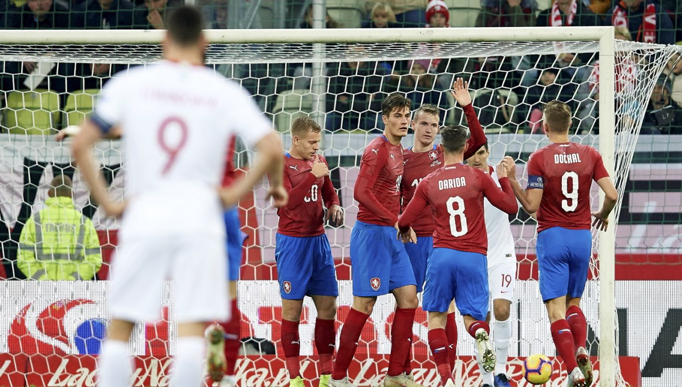 Czech players celebrating the only goal in the match. Photo: PAP/Adam Warżawa