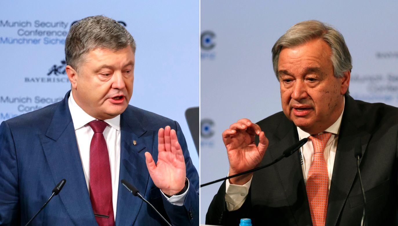 Petro Poroszenko (L) rozmawiał z o sekretarzem generalnym ONZ Antonio Guterresem (P) (fot. PAP/EPA/ RONALD WITTEK)