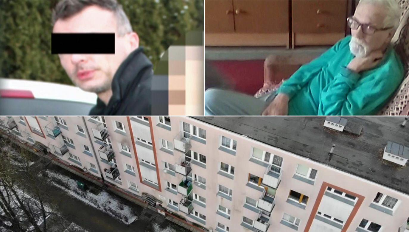 Pan Waldemar stracił mieszkanie przy ul. Niegocińskiej na warszawskim Mokotowie (fot. TVP1)