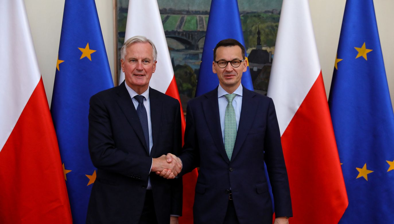 European Union's Brexit negotiator Michel Barnier (L) and Polish Prime Minister Mateusz Morawiecki (R). Photo: PAP/Rafał Guz