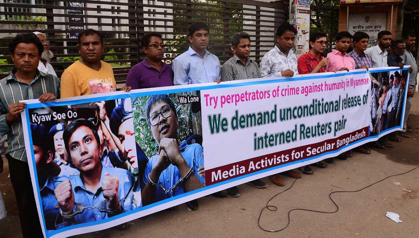Organizacje praw człowieka wzywały faktyczną przywódczynię Birmy, Aung San Suu Kyi, aby użyła swoich wpływów i ułaskawiła dziennikarzy (fot.  Mamunur Rashid/NurPhoto/Getty Images)