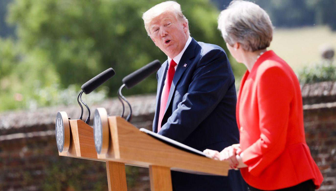 """Premier May ujawniła, że prezydent Trump poradził jej, żeby """"pozwała Unię, a nie rozpoczynała negocjacje"""" w sprawie Brexitu (fot. PAP/EPA/CHRIS RATCLIFFE)"""