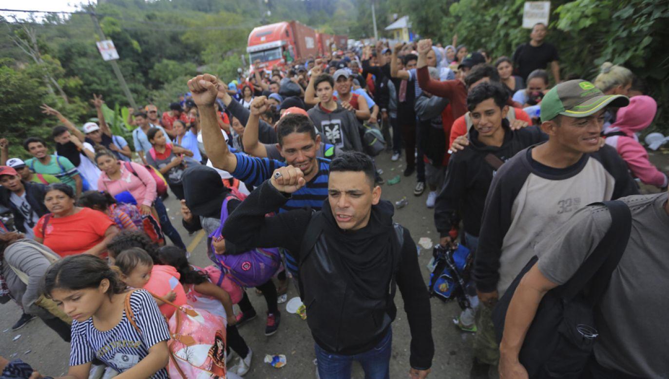 Grupa zmierzająca w kierunku Stanów Zjednoczonych liczy około 4 tys. osób.  (fot. PAP/EPA/GUSTAVO AMADOR)