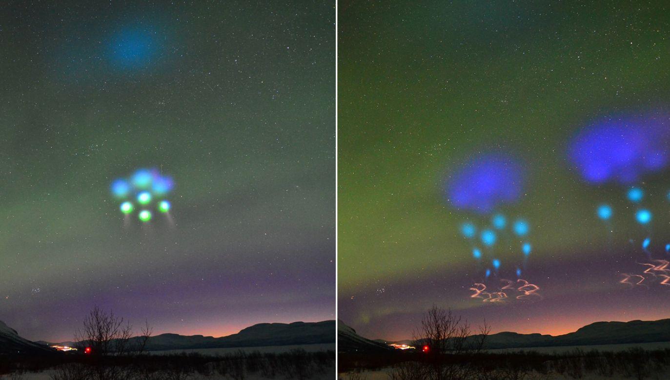 Uwolnione związki chemiczne spowodowały powstanie na niebie niesamowitych obrazów świetlnych przypominających m.in. deszczowe chmury (fot. FB/Lights Over Lapland)