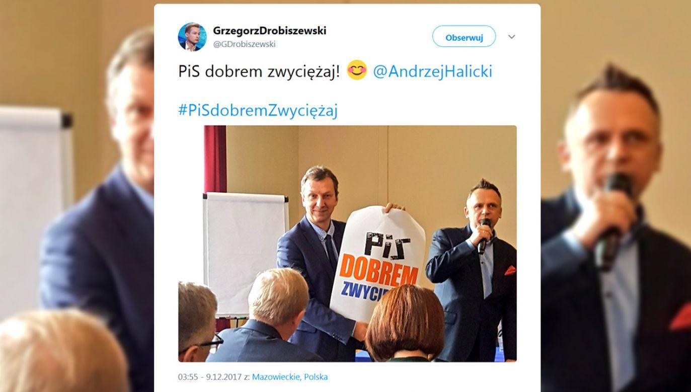 """Opozycja wykorzystała wezwanie błogosławionego księdza Jerzego Popiełuszki """"Zło dobrem zwyciężaj"""", przekształcając je na własny użytek (fot. tt/@GDrobiszewski)"""