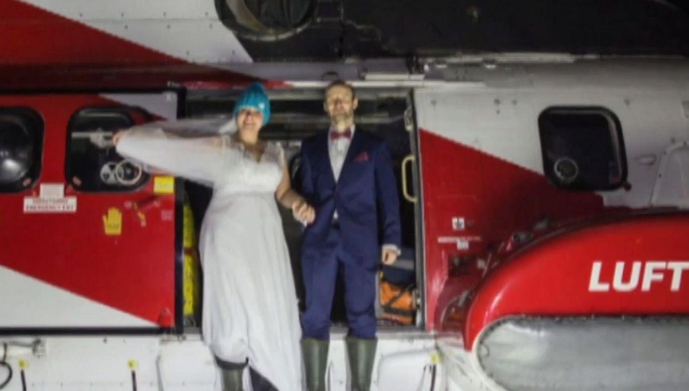 Ślub podczas zorzy polarnej na Arktyce (fot. TVP)