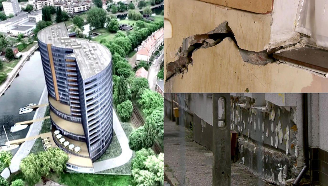 Powstający wieżowiec zagraża okolicznym budynkom (fot. TVP1)
