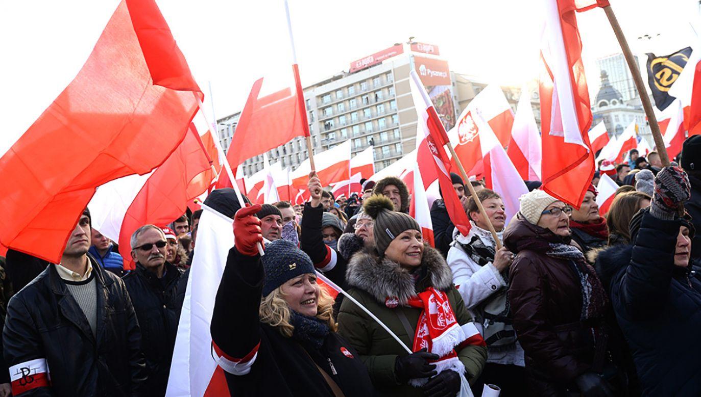 Uczestnicy Marszu Niepodległości (fot. arch.PAP/Bartłomiej Zborowski)