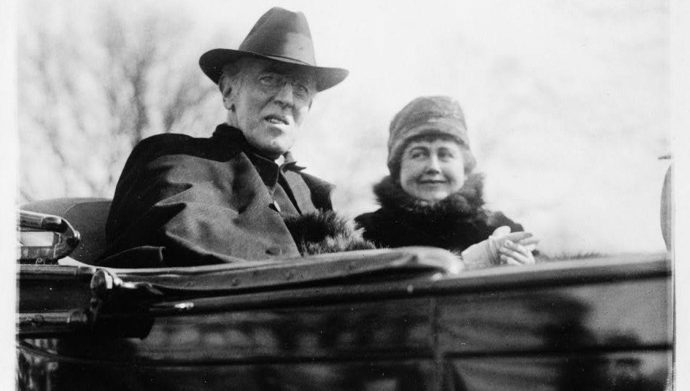 Dla prezydenta Wilsona (na zdj. z żoną Edith) odbudowa niepodległego państwa polskiego z dostępem do morza była jednym z warunków zakończenia wojny (fot. domena publiczna)