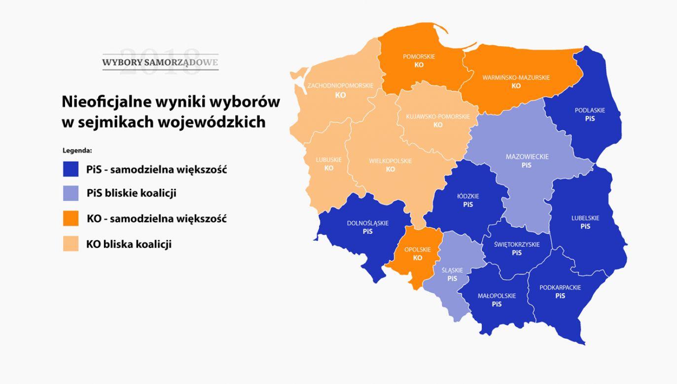 Spływają oficjalne dane z wojewódzkich komisji wyborczych (graf. portal tvp.info)