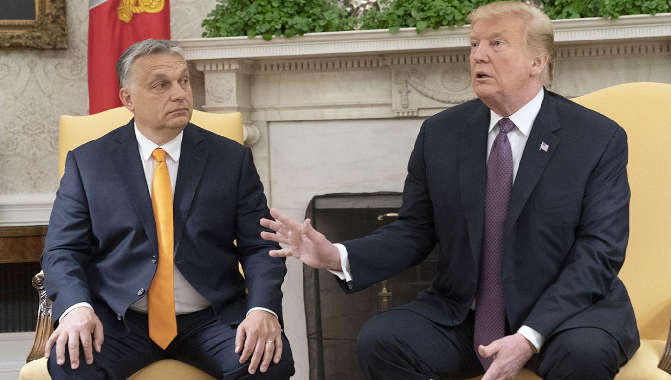 Orban poinformował, że zachęcał Trumpa do jak najszybszego przystąpienia do eksploatacji rumuńskich złóż gazu na Morzu Czarnym (fot. PAP/EPA/Chris Kleponis)