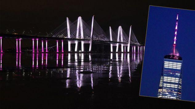 Most Kościuszki i One World Trade Center podświetlono na polecenie gubernatora (fot. TT/Ryan Saavedra/William Collier)